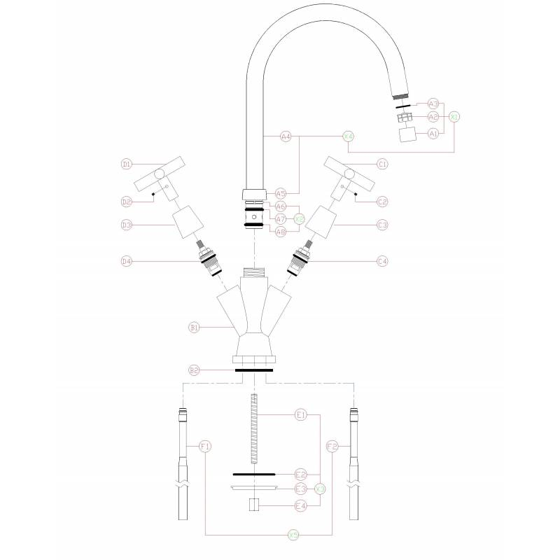 TC41 Quarter Turn Cross Handle